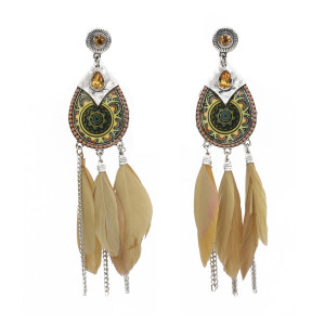 E-5759 Indian Pattern Long Feather Tassel Earrings