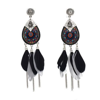 E-5759 Indian Pattern Long Feather Tassel Earrings