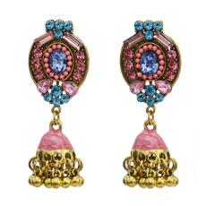 E-5761 Fashion Indian Alloy Rhinestones Bells Tassel Earrings