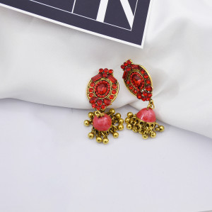 E-5761 Fashion Indian Alloy Rhinestones Bells Tassel Earrings