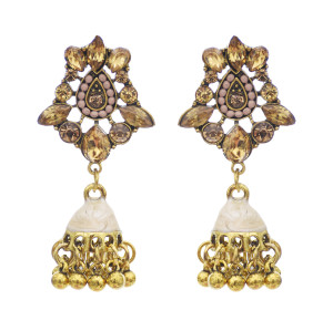 E-5762 Retro Style Gold with Crystal Beads Bell Tassel Jhumka Earrings for Women Wedding Gift