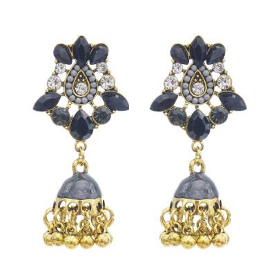 E-5762 Retro Style Gold with Crystal Beads Bell Tassel Jhumka Earrings for Women Wedding Gift