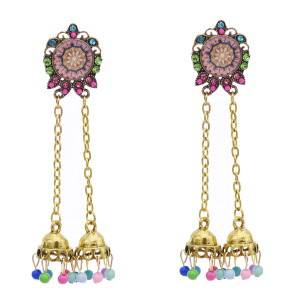 E-5763 Indian Belly Beads Tassel Drop Dangle Earrings for Woman