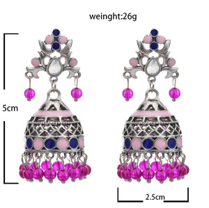 E-5764 Bohemian style colorful crystal tassel retro silver bell flower earrings women gift jewelry