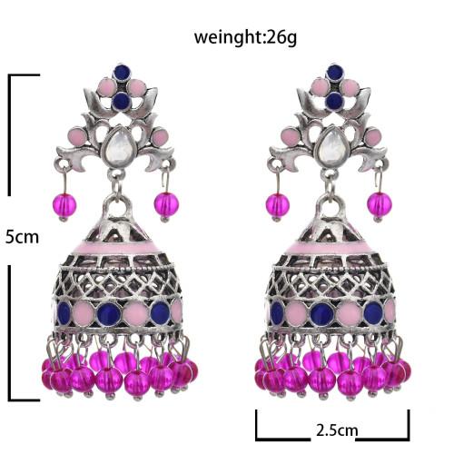 E-5764 Bohemian style colorful crystal tassel retro silver bell flower earrings women gift jewelry