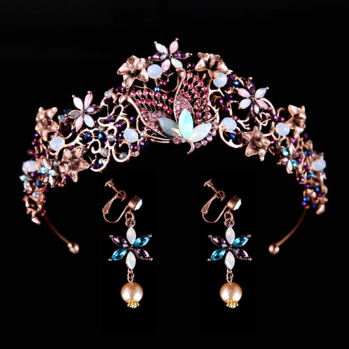 F-0761 Vintage style crystal crown earrings set wedding  bride accessories Jewelry