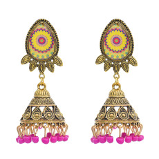 E-5765 Vintage Gold Metal Acrylic Beads Tassel Indian Jhumka Earrings for Women Festival Party Jewelry