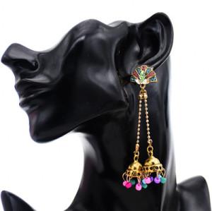 E-5767 Fashion Rhinestone Drop Dangle Beads Tassel Long Earring for Woman