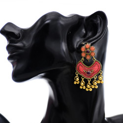 E-5766 Bohemian style glaze with diamonds golden tassels flower retro earrings female gift jewelry
