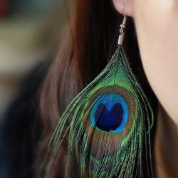 E-5773 Bohemian Retro Ethnic Wind Peacock Feather Long Earrings Fashion Tassel Female Gift jewelry