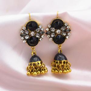 E-5774 6 Color Jhumki Gold with Crystal Enamel Beads Bell Tassel Jhumka Earrings for Women