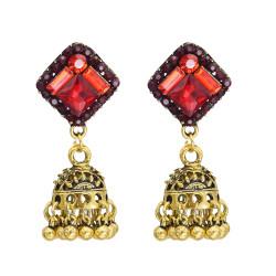 E-5775 Indian Vintage Gold Metal Crystal Bells Tassel Jhumka Earrings for Women Bohemian Party Jewelry