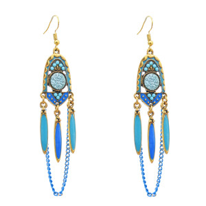 E-5776 Vintage Rhinestone Drop Dangle link Tassel Long Earring for Woman