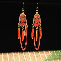 E-5776 Vintage Rhinestone Drop Dangle link Tassel Long Earring for Woman