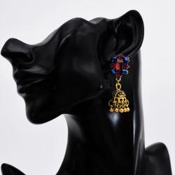 E-5777 Fashion Colorful Beads Bells Tassel Indian Jhumka Earrings For Women