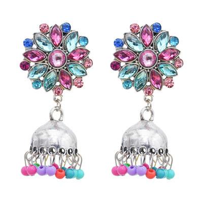 E-5779 Crystal Enamel Beads Bell Tassel Earrings for Women