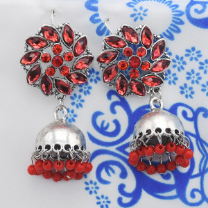 E-5787 Retro Style with Crystal Flower Colorful Acrylic Beads Bell Tassel Dangle Earrings for Women