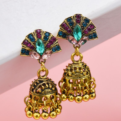 E-5788 Indian Beads Bell Tassel Drop Dangel Earrings for Women