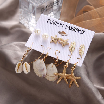 E-5790 Beach Earrings Set for Women Sea Shell Conch Hawaii Earring Summer Ear Stud and Dangle Hoop Earring Set