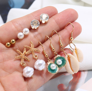E-5790 Beach Earrings Set for Women Sea Shell Conch Hawaii Earring Summer Ear Stud and Dangle Hoop Earring Set