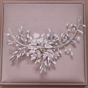 F-0763 Fashion crystal white bead hair band hand-woven leaf hair accessories bridal jewelry