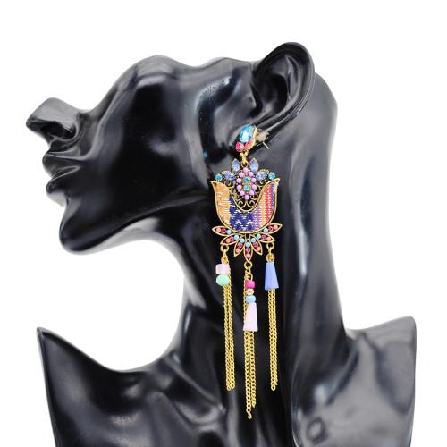 E-5791 Indian Jhumka Earrings for Women Carved Flower Crystal Long Bells Tassel Drop Earring Gypsy Jewelry