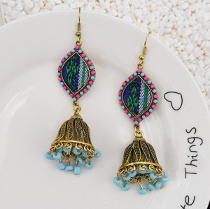 E-5792 Fashion Colorful Rhinestone Bells Drop Dangle Earrings for Women