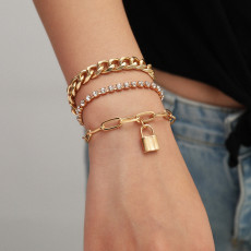 B-1028 Multi-layer gold and silver bracelet crystal bracelet lock pendant bracelet female jewelry