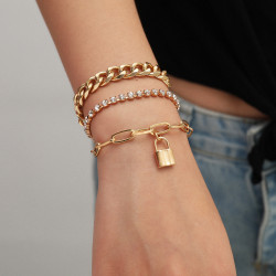 B-1028 Multi-layer gold and silver bracelet crystal bracelet lock pendant bracelet female jewelry