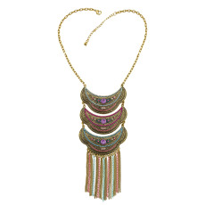 N-7368 Vintage Gold with Colorful Beaded Statement Tassel Necklaces for Women Party Jewelry
