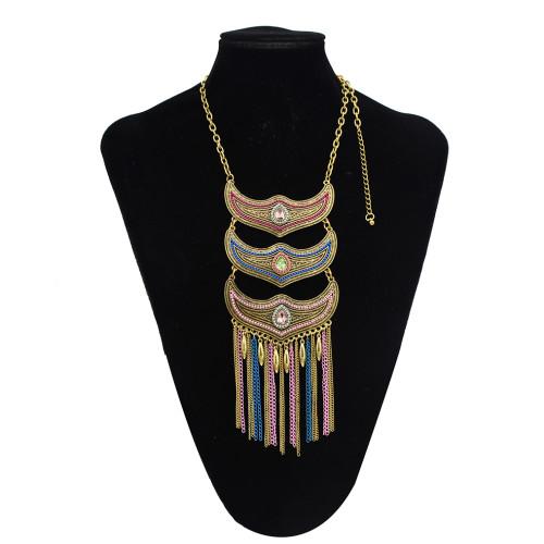 N-7369 Vintage Rhinestone Tassel Hollow Necklace for Women