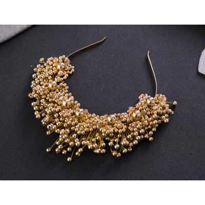 F-0766 Fashion gold silver crystal alloy bead crown hair band hair accessories bridal jewelry