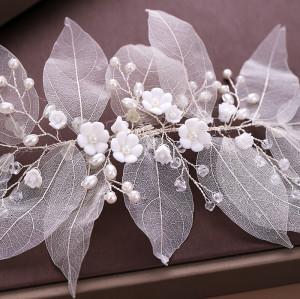 F-0765 Fashionable natural rhinestone pearl leaf shaped hair accessories ladies wedding festival Jewelry