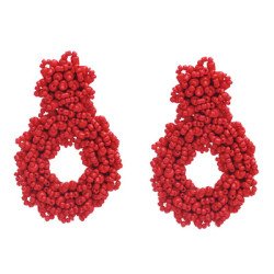 E-5793 Beaded Drop-Shaped Large Round Earrings for Woman