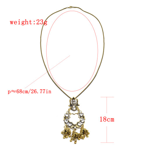 N-7370 Gypsy Antique Gold Metal Crystal Beads Mirror Birdcage Pendant Necklace Women Indian Ethnic Jewelry