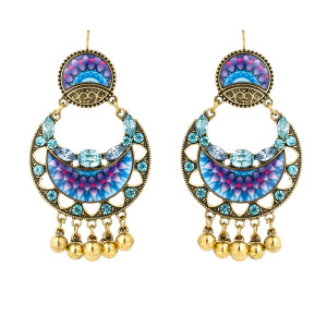 E-5794 Indian Beaded Rhinestone  Drop Dangle Earrings for Women