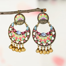 E-5794 Indian Beaded Rhinestone  Drop Dangle Earrings for Women