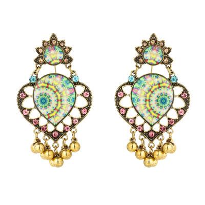 E-5795 Retro Heart-shaped with Tassel Beads Drop Dangle Earrings for Women