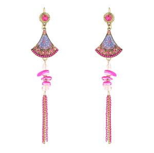 E-5796 Bohemian colored stone gold chain long tassel fan-shaped crystal earrings Gypsy gift jewelry
