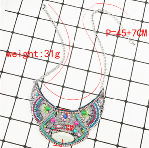 N-7372 Indian Hollow Broken Glass Stone Acrylic Beads Rhinestone Pendant Dance Necklace