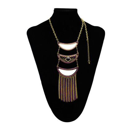 N-7373 Indian Vintage Gold Alloy Crystal Beads Mirror Pendant Necklaces for Women Bohemian Gypsy Party Jewelry