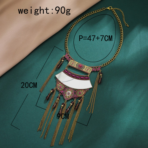 N-7374 Fashion Indian Vintage Alloy Colorful Crystal Beads Mirror Pendant Necklaces for Women Bohemian Gypsy Jewelry Accessories