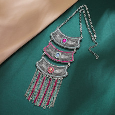 N-7375 Vintage silver Alloy colorful Crystal tassel Pendant Necklaces for Women Bohemian Gypsy Party Jewelry