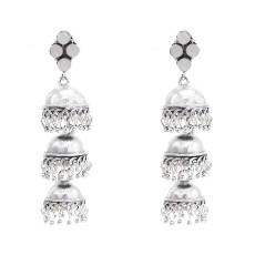 E-5803 Fashion Jhumka Earrings with Rhinestone Bells Pendant Silver Drop Dangle Earrings for Women