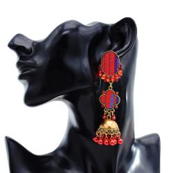 E-5804 Fashionable colorful rhinestone bell pendant beads tassel knitted earrings women jewelry