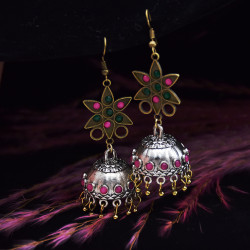 E-5805 Indian Pentagram Rhinestone Bell Drop Earrings for Women
