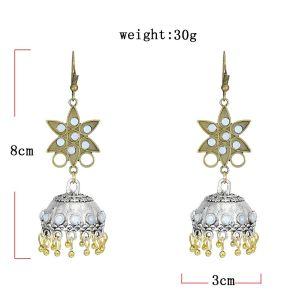 E-5805 Indian Pentagram Rhinestone Bell Drop Earrings for Women
