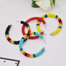 E-5809 Bohemian Hand-woven C-shaped Rice Beads Large Hoop Earrings