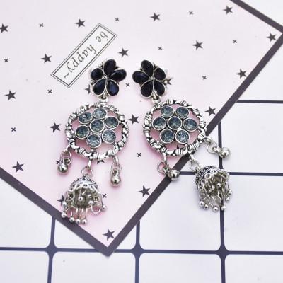 E-5816 Fashion Crystal Flowers Bells Drop Dangle Earrings for Women Jewelry