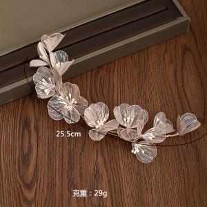 F-0770 Korean Style Women Gold Wired Flower Headbands Bridal Wedding Hair Accessories